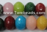 CCN956 15.5 inches 14*18mm faceted rondelle mixed color candy jade beads