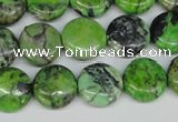 CCO133 15.5 inches 14mm flat round dyed natural chrysotine beads