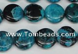 CCO176 15.5 inches 14mm flat round dyed natural chrysotine beads