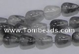 CCQ103 15.5 inches 8*12mm teardrop cloudy quartz beads wholesale