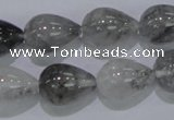 CCQ106 15.5 inches 13*18mm teardrop cloudy quartz beads wholesale