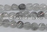 CCQ125 15.5 inches 8mm twisted coin cloudy quartz beads wholesale