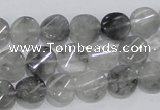 CCQ126 15.5 inches 10mm twisted coin cloudy quartz beads wholesale