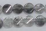 CCQ127 15.5 inches 12mm twisted coin cloudy quartz beads wholesale