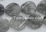 CCQ129 15.5 inches 20mm twisted coin cloudy quartz beads wholesale