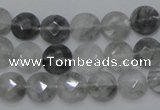 CCQ134 15.5 inches 10mm faceted coin cloudy quartz beads wholesale