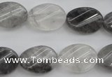 CCQ249 15.5 inches 13*18mm twisted oval cloudy quartz beads wholesale