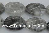 CCQ251 15.5 inches 18*25mm twisted oval cloudy quartz beads wholesale