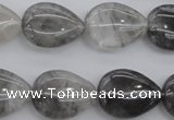 CCQ254 15.5 inches 15*20mm flat teardrop cloudy quartz beads