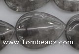 CCQ257 15.5 inches 25*35mm flat teardrop cloudy quartz beads