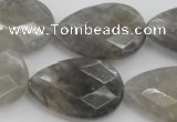 CCQ270 15.5 inches 20*30mm faceted flat teardrop cloudy quartz beads