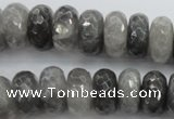 CCQ285 15.5 inches 8*16mm faceted rondelle cloudy quartz beads