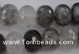 CCQ286 15.5 inches 12*16mm faceted rondelle cloudy quartz beads