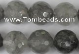 CCQ317 15.5 inches 18mm faceted round cloudy quartz beads wholesale