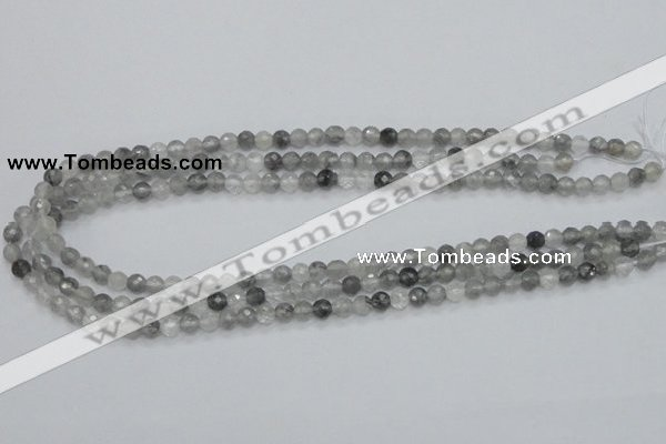 CCQ58 15.5 inches 6mm faceted round cloudy quartz beads wholesale