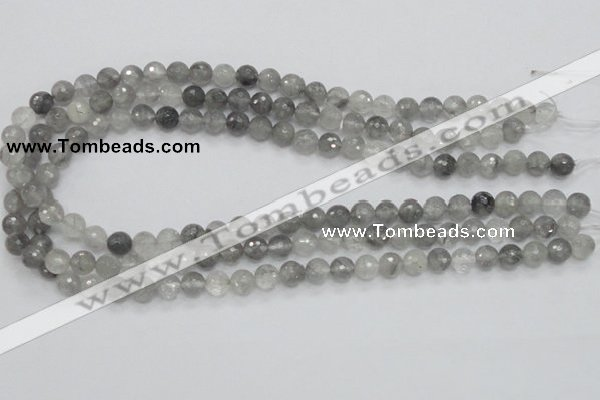 CCQ59 15.5 inches 8mm faceted round cloudy quartz beads wholesale