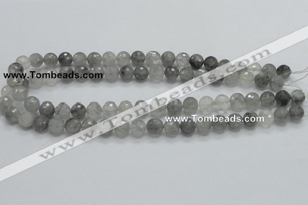 CCQ60 15.5 inches 10mm faceted round cloudy quartz beads wholesale