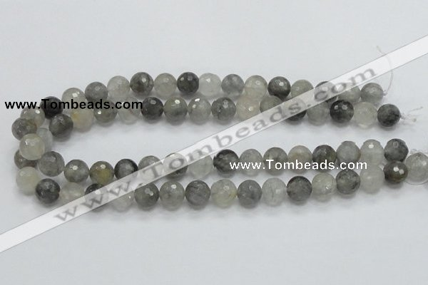 CCQ61 15.5 inches 12mm faceted round cloudy quartz beads wholesale