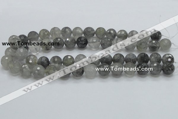 CCQ62 15.5 inches 14mm faceted round cloudy quartz beads wholesale