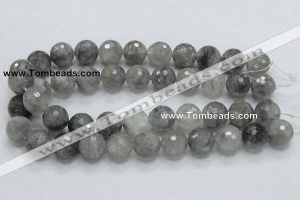 CCQ64 15.5 inches 18mm faceted round cloudy quartz beads wholesale