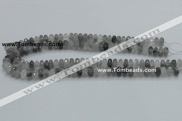CCQ74 15.5 inches 7*10mm faceted rondelle cloudy quartz beads wholesale