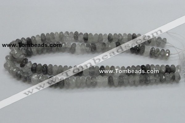 CCQ75 15.5 inches 6*12mm faceted rondelle cloudy quartz beads wholesale