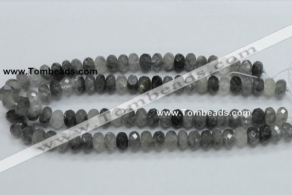 CCQ76 15.5 inches 8*14mm faceted rondelle cloudy quartz beads wholesale