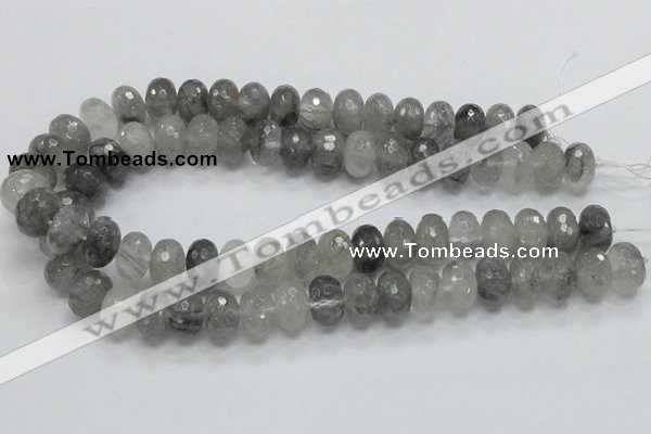 CCQ78 15.5 inches 10*16mm faceted rondelle cloudy quartz beads wholesale