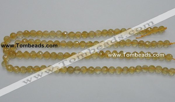 CCR04 15.5 inches 8mm faceted round natural citrine gemstone beads