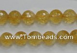 CCR05 15.5 inches 10mm faceted round natural citrine gemstone beads