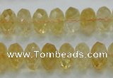 CCR11 15.5 inches 8*14mm faceted rondelle natural citrine gemstone beads