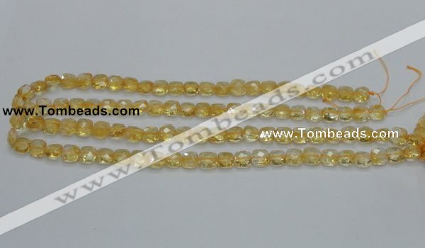 CCR14 15.5 inches 8*8mm faceted square natural citrine gemstone beads