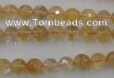CCR153 15.5 inches 8mm faceted round natural citrine gemstone beads