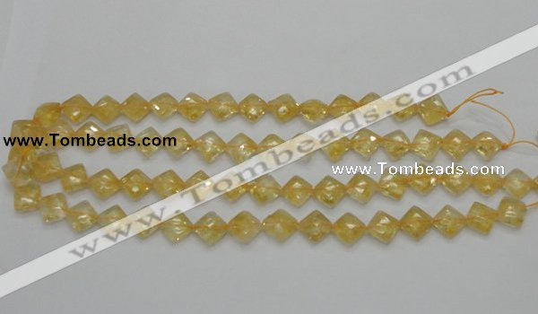 CCR16 15.5 inches 10*10mm faceted diamond natural citrine gemstone beads