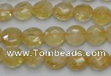 CCR18 15.5 inches 10mm faceted flat round natural citrine gemstone beads