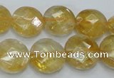 CCR20 15.5 inches 14mm faceted flat round natural citrine gemstone beads
