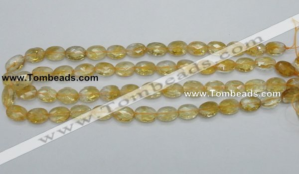 CCR23 15.5 inches 10*14mm faceted oval natural citrine gemstone beads
