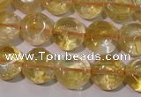 CCR231 15.5 inches 10mm flat round natural citrine gemstone beads