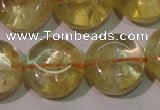 CCR233 15.5 inches 14mm flat round natural citrine gemstone beads