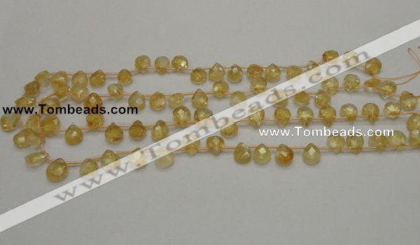 CCR31 15.5 inches 8*10mm faceted briolette natural citrine beads