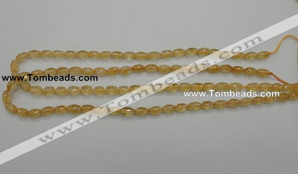 CCR32 15.5 inches 6*8mm faceted rice natural citrine gemstone beads