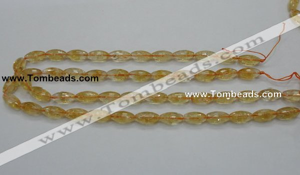 CCR36 15.5 inches 8*16mm faceted rice natural citrine gemstone beads
