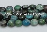 CCS14 15.5 inches 8mm flat round natural chrysocolla gemstone beads
