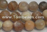 CCS313 15.5 inches 12mm faceted round natural sunstone beads