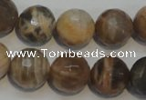 CCS314 15.5 inches 14mm faceted round natural sunstone beads