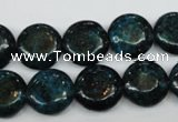 CCS434 15.5 inches 14mm flat round dyed chrysocolla gemstone beads