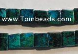 CCS614 15.5 inches 10*10mm cube dyed chrysocolla gemstone beads