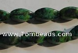CCS640 15.5 inches 8*16mm twisted rice dyed chrysocolla gemstone beads