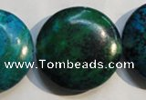CCS679 15.5 inches 30mm flat round dyed chrysocolla gemstone beads