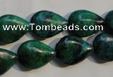 CCS691 15.5 inches 13*17mm flat teardrop dyed chrysocolla beads